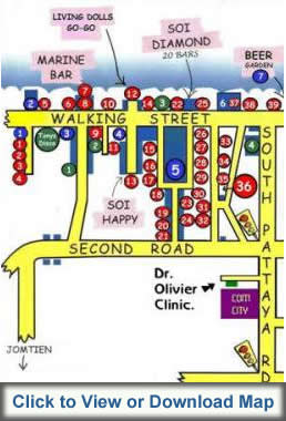 Pattaya Walking Street map for bar hopping