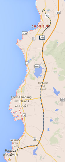 Map route from Pattaya to Chonburi Transport Office