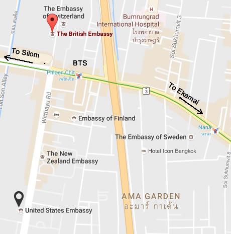 Bus From Pattaya To Australia USA UK Embassies Nana Pat - Us embassy bangkok map